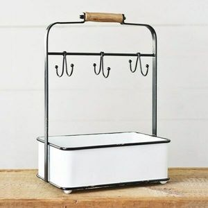 Cup Caddy with Hooks and Accessory Bin